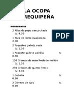 Receta La Ocopa Arequipeña