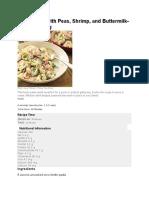 Orecchiette With Peas, Shrimp and Buttermilk Herb Dressing