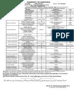 Date Sheet of BABSC 1ST 2016