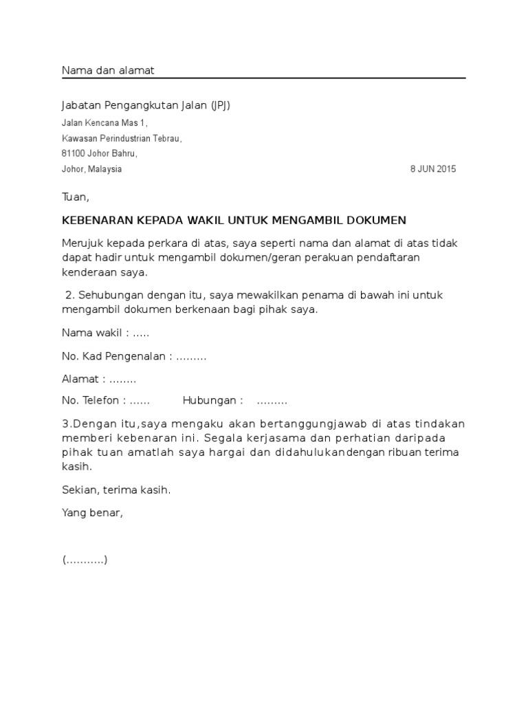 Contoh Surat Wakil Jpj