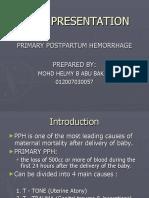 Postpartum Hemorrhage due to uterine atony