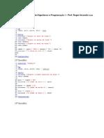 Lista de Exercícios de Algoritmos e Programação I