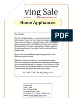 Moving Sale Home Appliances Updated 27/4/2010 for Hong Kong Residents