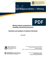Other Mining Industry Perspectives on Handling Community Grievances