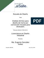 Análisis Térmico Para Diseño de Horno Por Convección Forzada Para Vitrofusión.