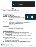Casual Resume