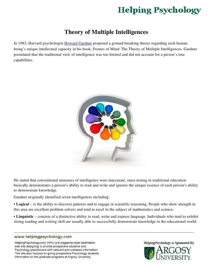Theory of Multiple Intelligences   Intelligence   Theory