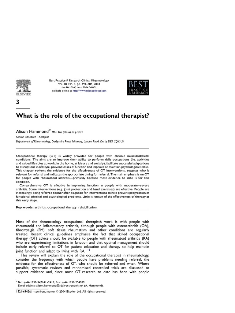 Whats the Role of the Rheumatologist in RA Diagnosis and Treatment