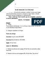 Plan de Tareas Primer Grado Lunes Once Al Trece de Mayo