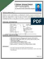 CV Zaheer Naqvi 2014 September 2015