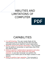 Capabilities and Limitations of Computer