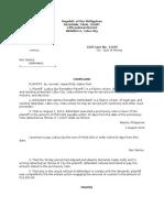 Complaint for Sum of Money