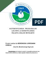 Autentificarea Produselor Lactate Și Identificarea Falsificărilor Întâlnite