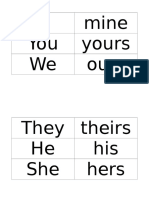 Possesive Pronouns Strips