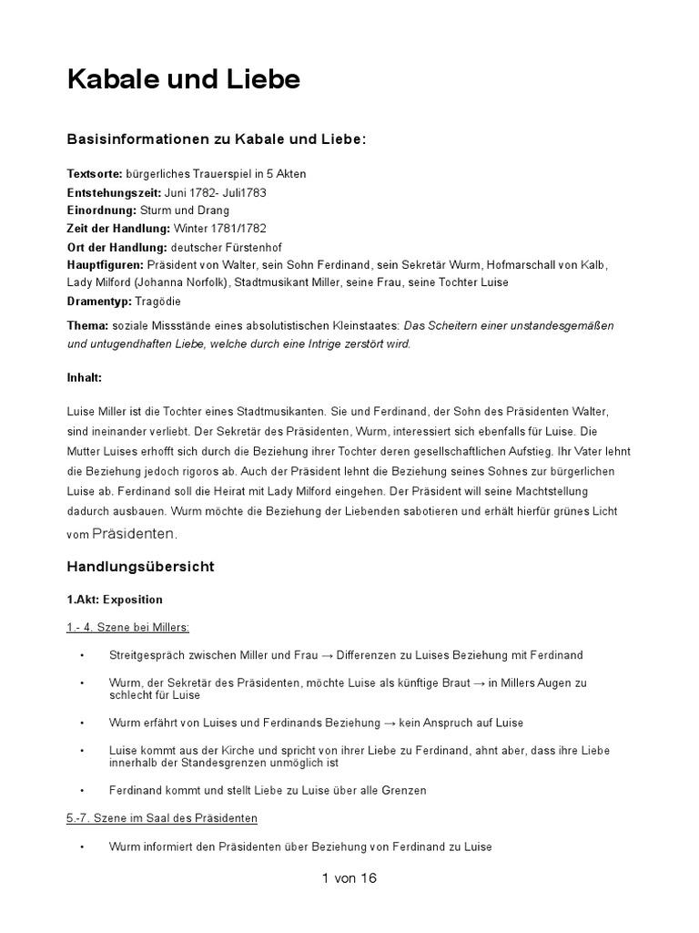 Kabale Und Liebe 1 Akt 5 Szene Szenenanalyse Absolute