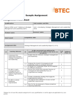 Pearson BTEC Level 7 Diploma in Strategic Management and Leadership (QCF) Sample Assignment