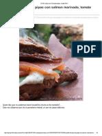 Bocadillo salmon pan pita