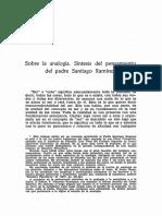 Sobre La Analogia. Sintesis Del Pensamiento Del Padre Ramirez, Fr Alejandro Del Cura OP