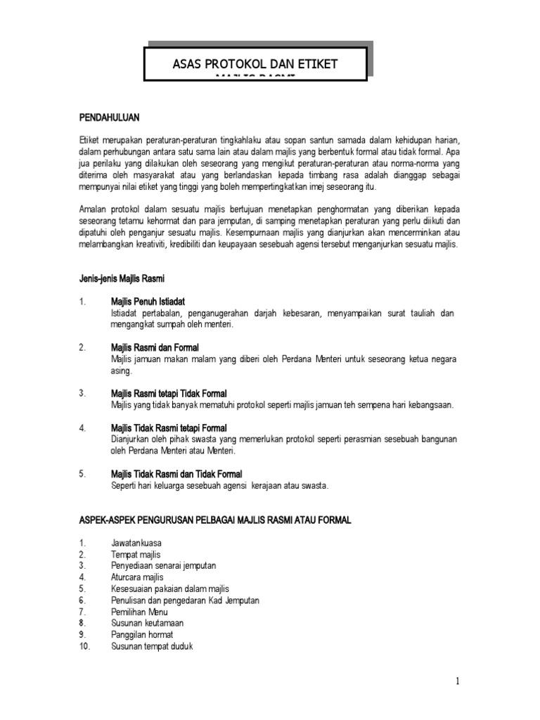 Protokol Dan Etiket Majlis Rasmi