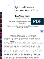 Pidgins and Creoles in Anglophone West Africa