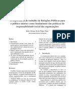 A importância do Relações Públicas para o Público Interno como fundamentos das políticas de responsabilidade social das organizações