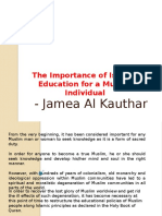 Jamea Al Kauthar - The Importance of Islamic Education for a Muslim Individual