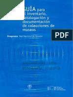 Guía Para El Inventario Catalogacion y Documentacion de Colecciones