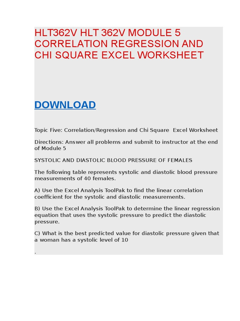 Hlt362v Hlt 362v Module 4 Anova Excel Worksheet – Chi Square Worksheet