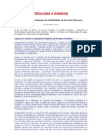 TEOLOGIA À ROMANA - Uma análise da definição de infalibilidade do Concílio Vaticano I