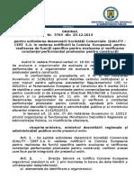 111.Ordin Nr.3763-20.12.2013 Pentru Extinderea Desemnarii Societatii Comerciale QUALITY-CERT S.a. in Vederea Notificarii La Comisia Europeana