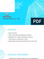 Strategic Analysis at Honda Motor Company Ltd.