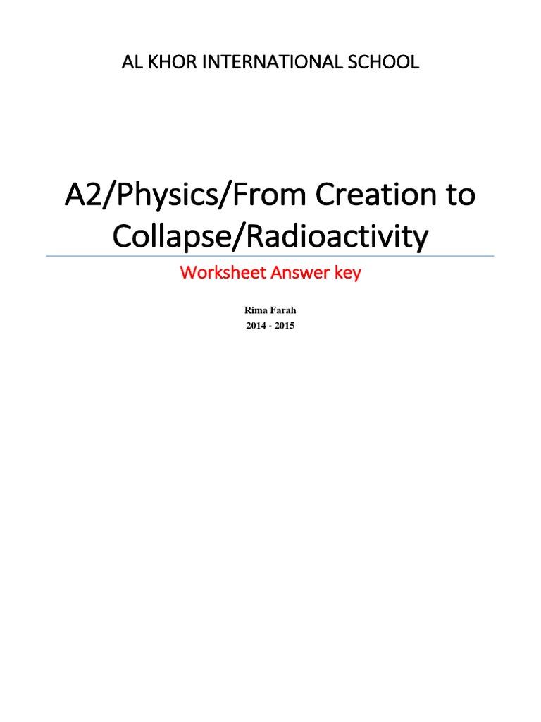 worksheet Radioactivity Worksheet radioactivity worksheet a2 ms radioactive decay atomic nucleus