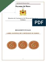 Règlement d'Usage Du Label National Artisanat Maroc