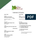 Fleischmanns Maple Fest 2016 Calendar
