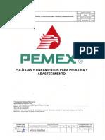 Políticas y Lineamientos Para Procura y Abastecimiento Con Formatos Guia