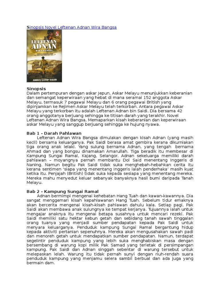 Sinopsis Novel Leftenan Adnan Wira Bangsa Doc