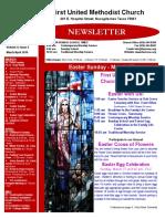 Newsletter for April 2016