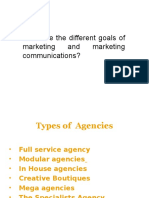 What are the different goals of marketing and marketing communications