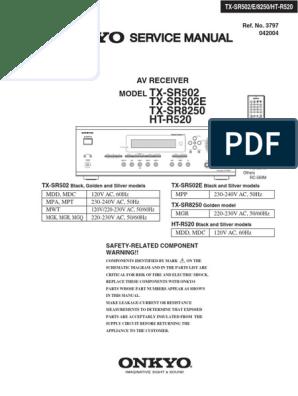 Onkyo Htr250 Service Manual Ref 3797 Video Loudspeaker