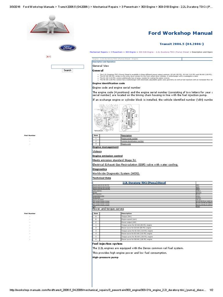 Ford Workshop Manuals _ Transit 2006.5 (04.2006-) _ Mechanical Repairs _ 3  Powertrain _ 303 Engine _ 303-01B Engine - 2