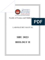 BIOLOGY II SBU3023  Practical Manual