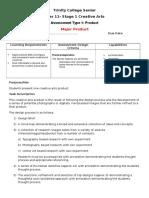 trinity college senior task sheet creative arts  product