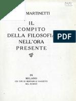 Piero Martinetti Il Compito Della Filosofia Nell'Ora Presente