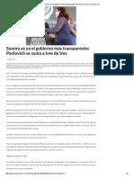 15-03-16 Sonora es ya el gobierno más transparente; Pavlovich se suma a tres de tres. -Critica