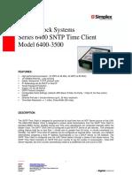 6400 3500 SNTP Time Client Clock Datasheet