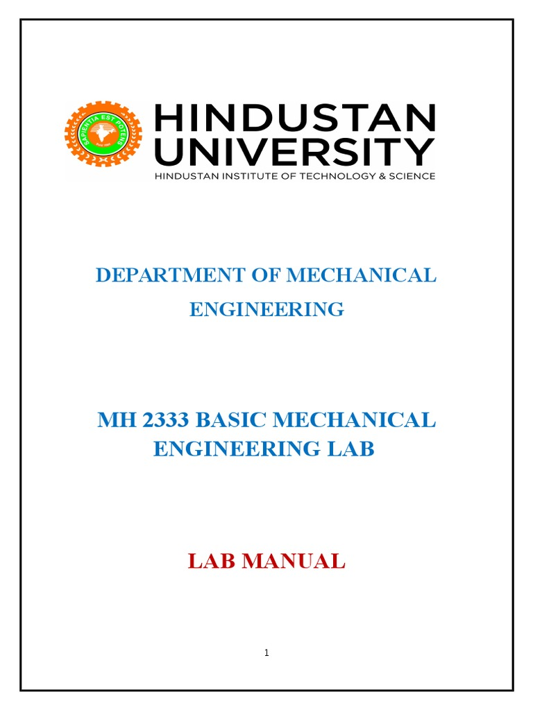 Basic Mechanical Engineering Lab Manual   Internal Combustion Engine    Diesel Engine