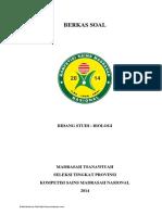 Soal Ksm Biologi Mts Tingkat Provinsi 2014