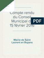 Compte rendu du Conseil Municipal du 15 février 2016
