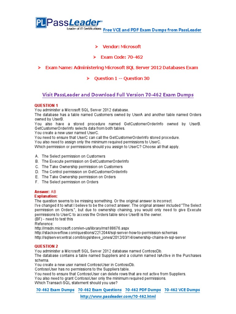 70 462 Exam Dumps With Pdf And Vce Download 1 30 Microsoft Sql