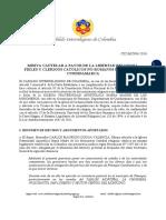 Misiva Cautelar CIC-MC006-2016 a favor de los Católicos No-Romanos en Fómeque, Cundinamarca